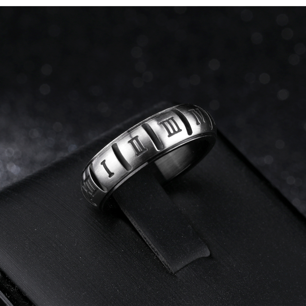 Wholesale Men Women Roman Numerals Design Black Ring Couple Jewelry