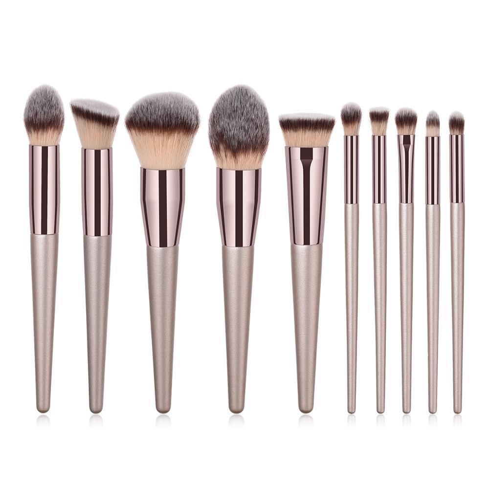 Kosmetik pinsel 10 pcs großhandel braun nylon haar premium soft professional make-up pinsel