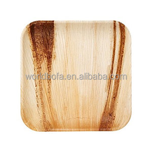 Disposable Frondware 10inch Palm Leaf wooden Square Plates tableware packed in 25pcs dinner dish