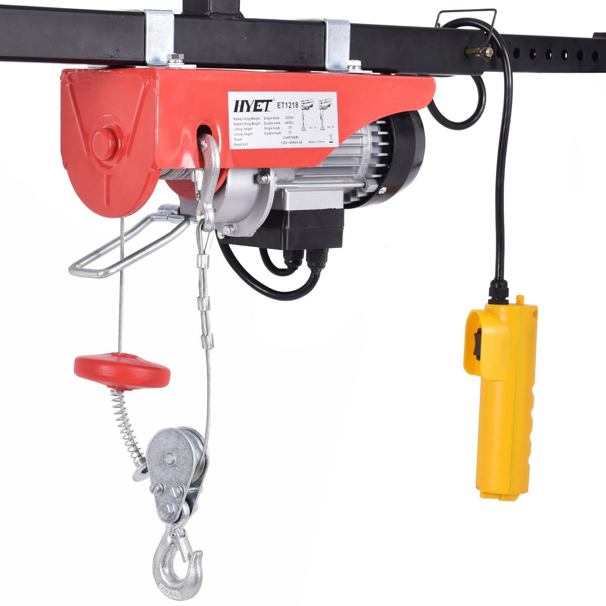 goplus lift electric hoist garage auto shop electric wire hoist overhead lift w remote control (440lbs)
