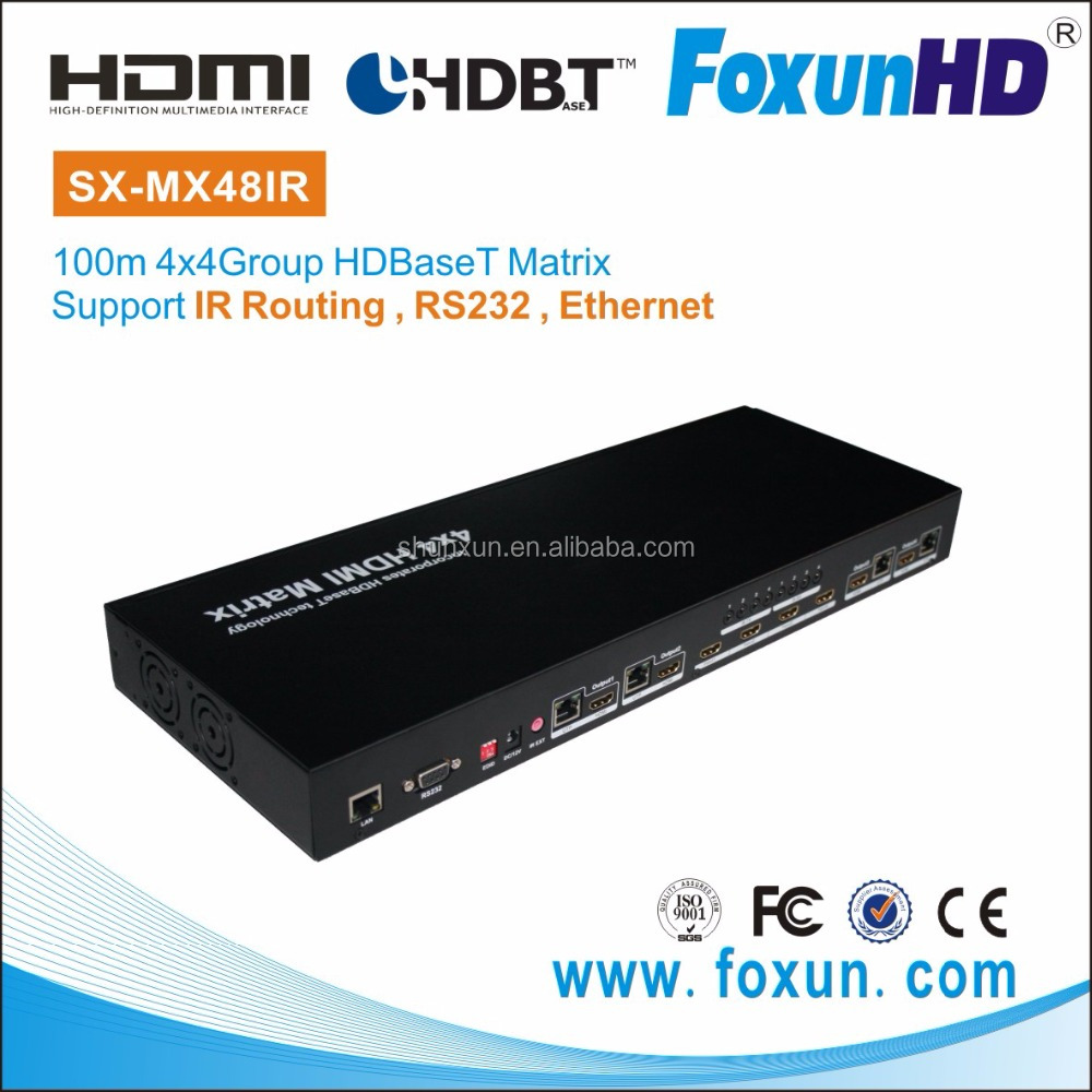 Shunxun SX-MX48IR-100 local IR, RS232 and Ethernet HDBaseT 3D Vedio DVI HDMI 4 in 4 out 100m HDMI Matrix