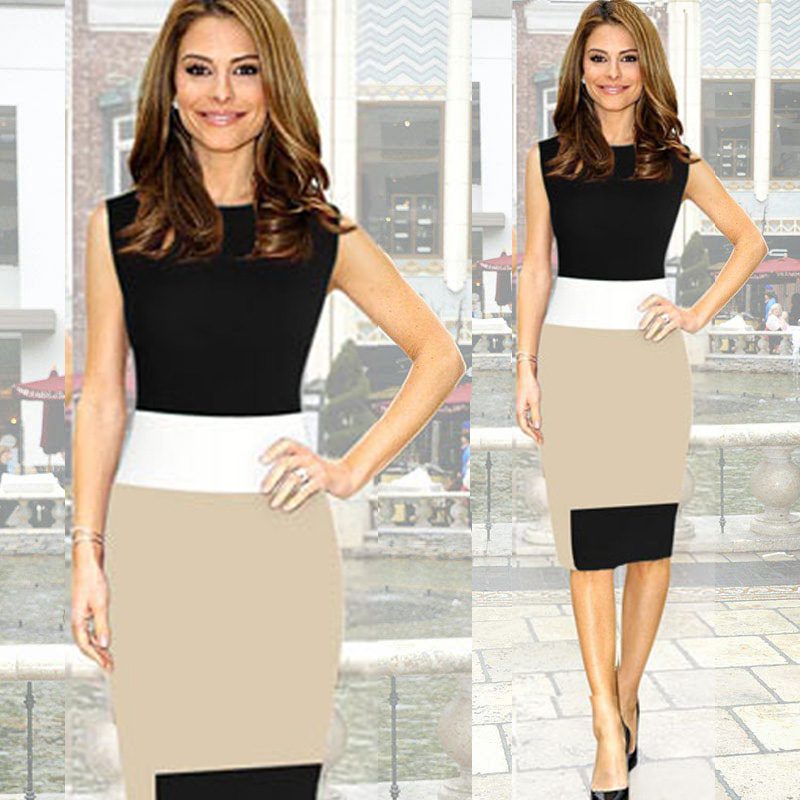 2015 Color Blocking Dress For Business Mini Bodycon Stretch Zipper ...