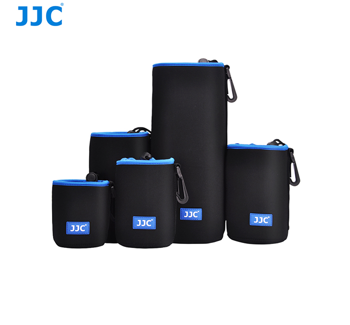 JJC 5 Sizes 3.5mm Thick With Carabiner Soft Waterproof Neoprene Lens Pouch Lens Bag for Mirrorless DSLR Camera Lens