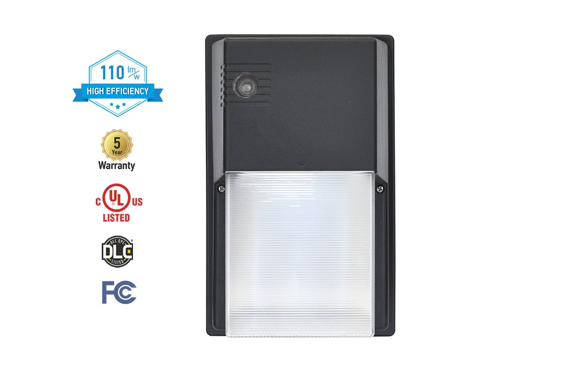 ASD 20W LED Security Wallpack with Dusk-to-Dawn Photocell 5000K (Daylight), Black, Commercial Grade, UL Certified, DLC Listed