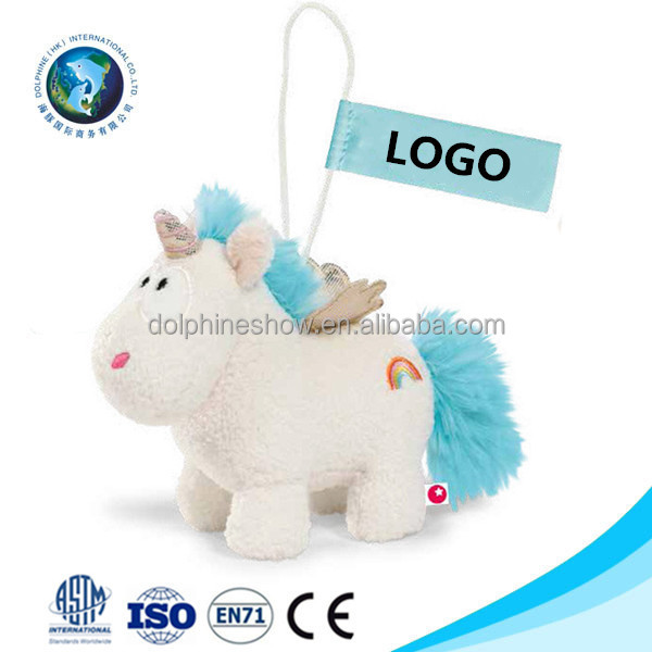 Popular mini unicorn plush toy Wholesale Promotional gift custom LOGO cute stuffed soft plush unicorn keychain