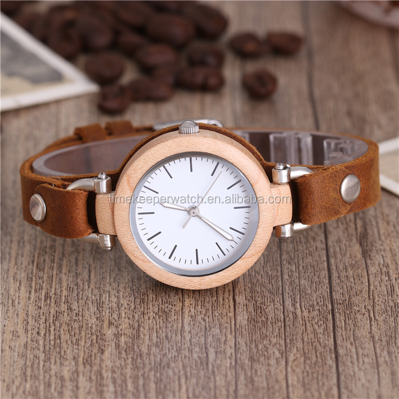 beautiful design made out of wood leather strap wood watch for ladies gift wrist watch women
