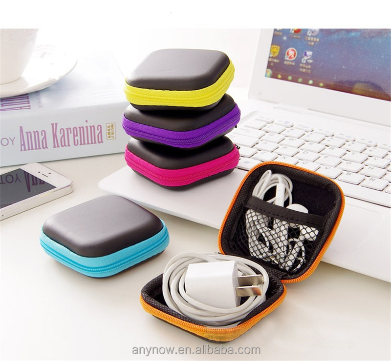OEM Accepted Pocket Colorful Zipper Square Shape EVA USB Cable Storage Bags