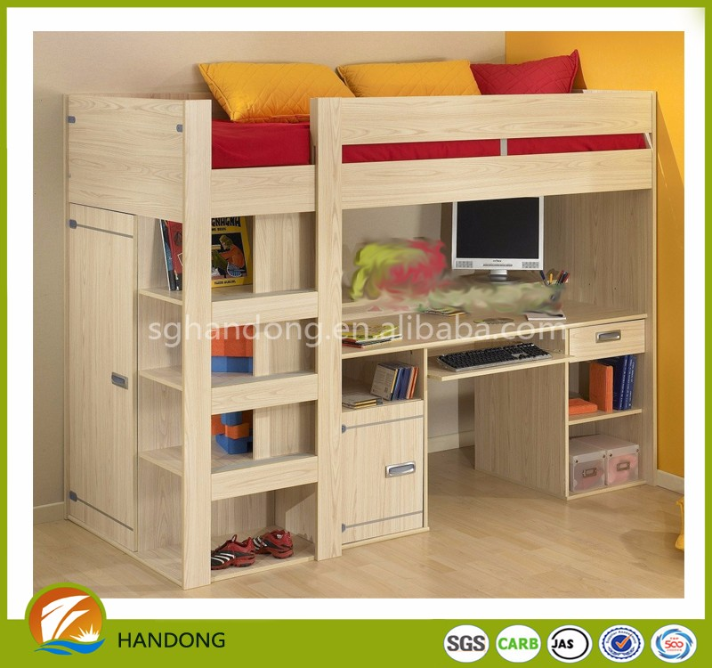 Pine Wood Full Size Loft Bed With
