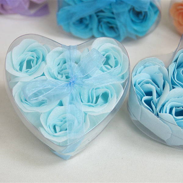 Light Blue 6pcs Heart Rose Shape Soap <strong>Flower</strong>