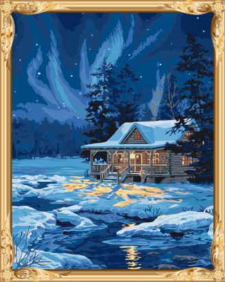 GX7415 paint by numbers snow night landscape canvas oil painting for wall art
