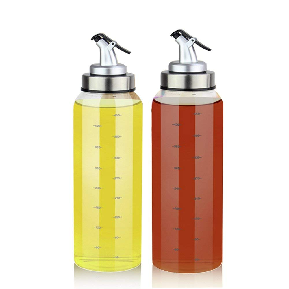 (2 Pack) Olive Oil Dispenser Bottle - 17 Oz Oil Cruet Glass, No Drip,Oil Container for Vegetable, Lead-Free Glass Oil Dispenser with Degree Scale for Kitchen Accessories Salad Dressing Balsamic 500ML
