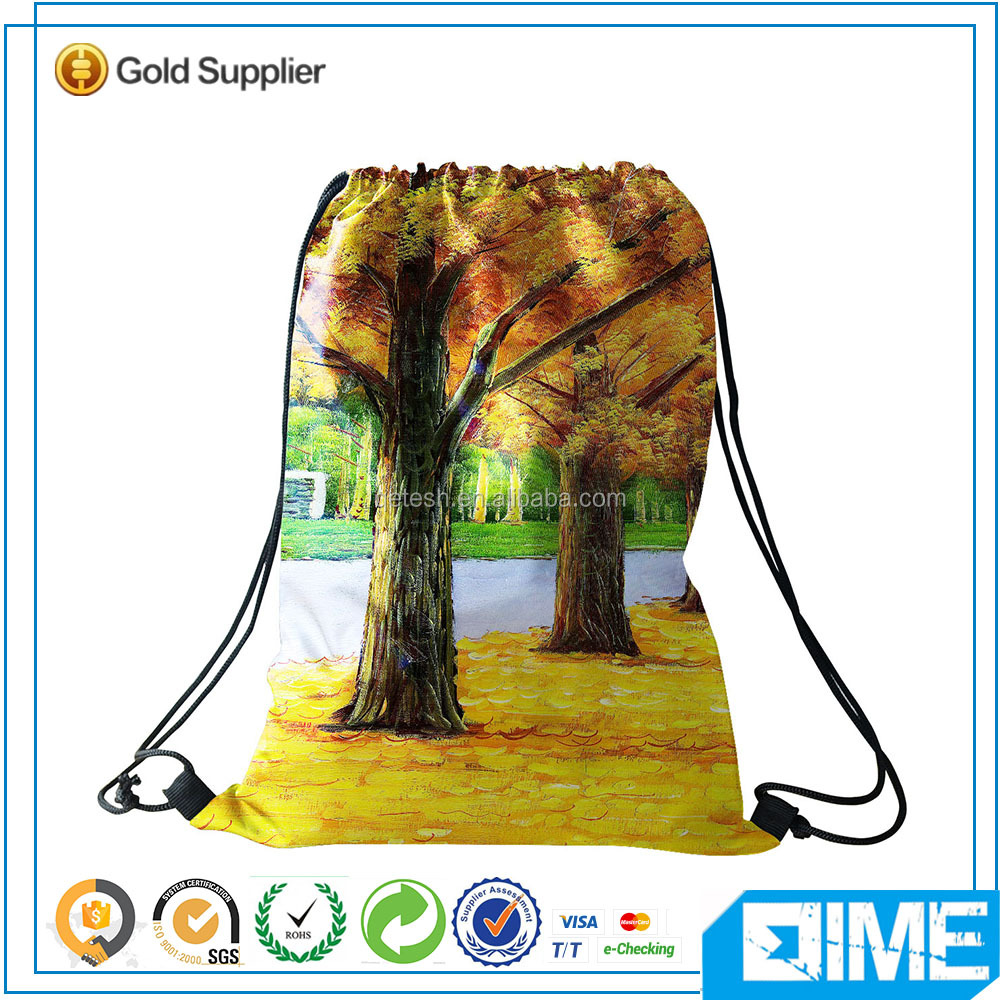 Fall Leaves fabric nylon polyester promotional drawstring bag