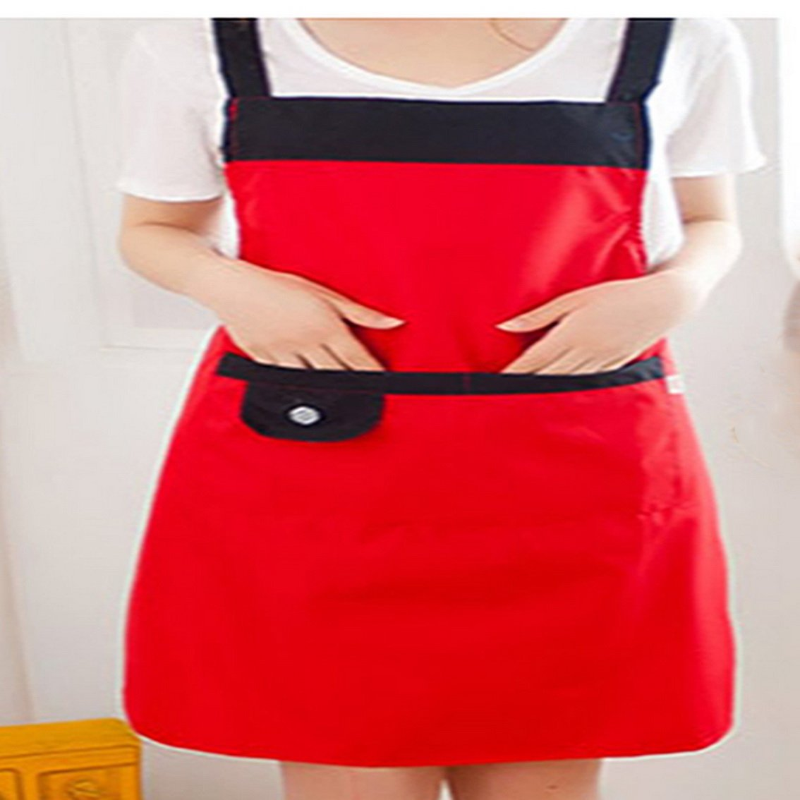 fengg2030shann Cute sleeves apron female simple and stylish thick waterproof kitchen apron adult gowns. Aprons apron Aprons sleeve gown Aprons gowns