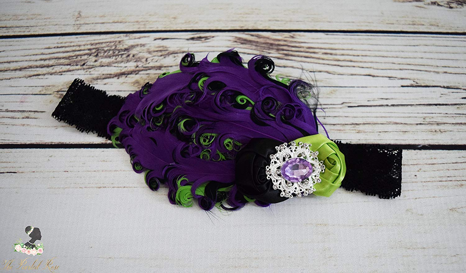 Handcrafted Purple Lime and Black 1920s Inspired Headband - Fancy Headband - Flapper Girl Headpiece - Feather Toddler Headband