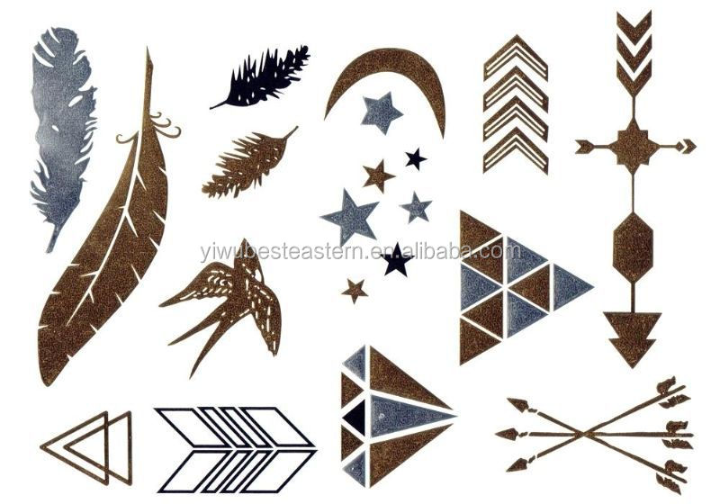 New design Temporary Jewelry Metallic Gold Tattoo, Gold Temporary Tattoos