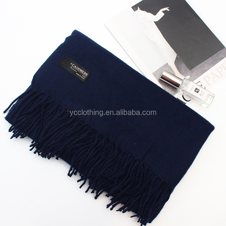 navy blue color winter thick warm cashmere long scarf wholesale