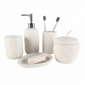 2019 New Resin Stone 5 Piece Bathroom Set for Bath Accessories