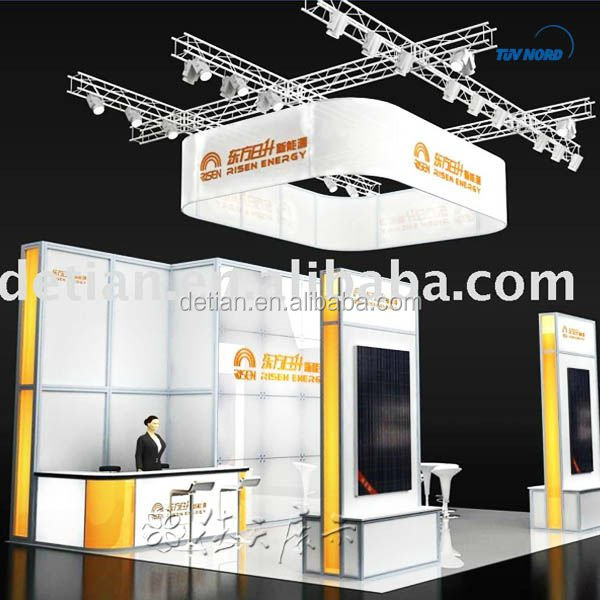 Exhibition Booth Signage : Booth tradeshow exhibition booth space with hanging sign