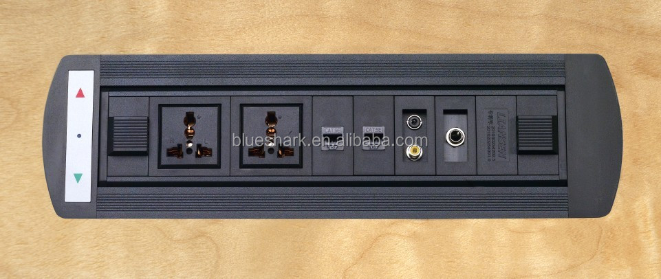 Tabletop electric outlet power Socket With 2 Network Configuration