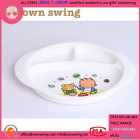 Wholesale Microwave oven kids and Children dinner printing Plastic Divided Plates plastic 3 compartment plate