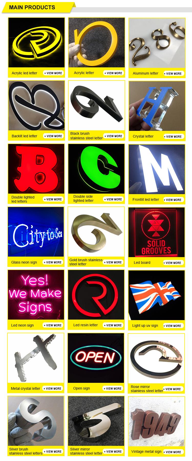 Mais recente promoção de vendas por atacado de alta qualidade barato ao ar livre grande led letras
