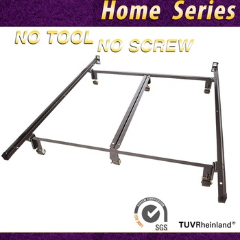 heavy duty metal king bed frame with rug rollers and double rail center support