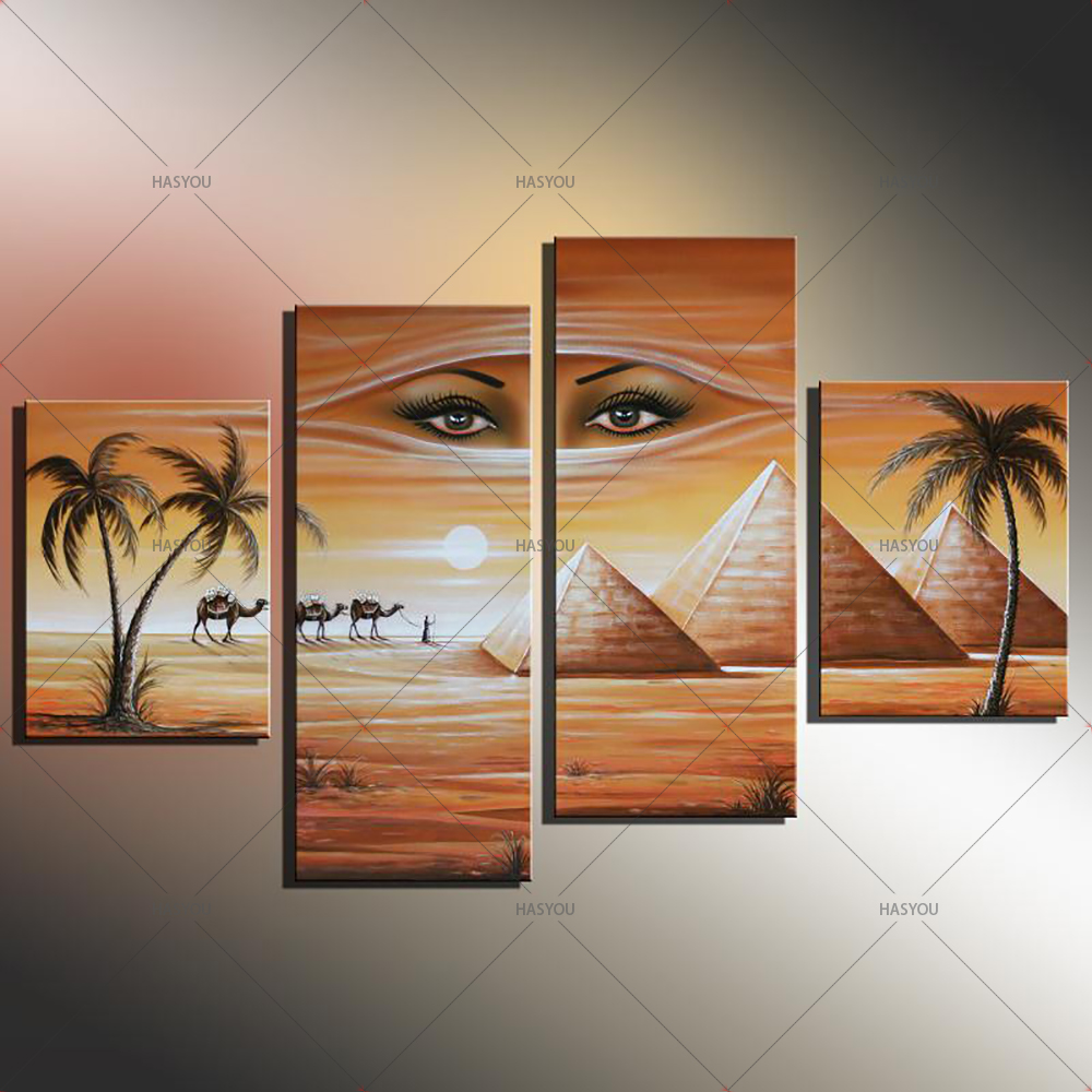 Fantasy-Oil-Painting-Egyptian-Pyramids-Landscape-Hand-Painting-Calligraphy-on-Canvas-Wall-Pictures-4-Pieces-Pictures (4)