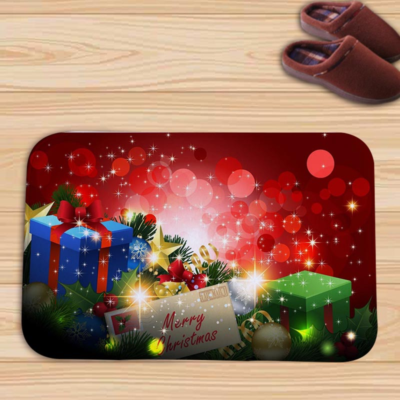 PEIYUAN Merry Christmas Tree Gifts Candle Santa Flannel Doormat New Design Floor Mat Tapete