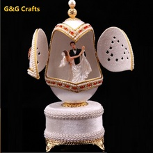 Wedding Favors Gift Goose Egg Carving Musical Box