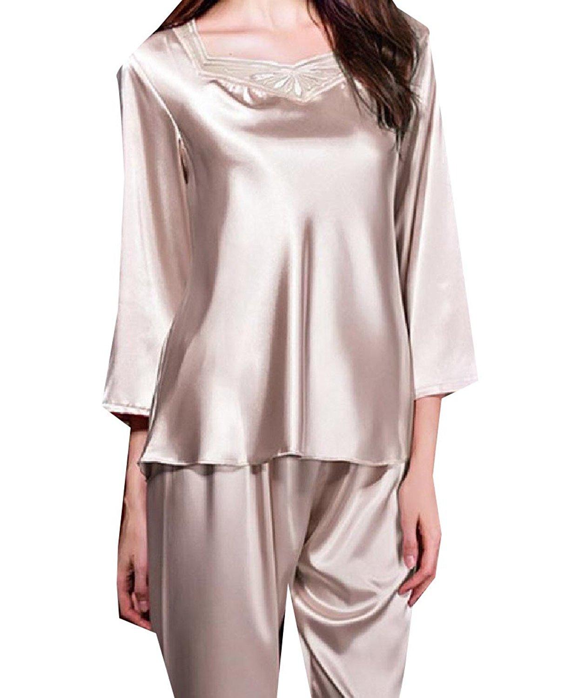 Get Quotations · Abetteric Women Nine Sleeves Plus Size Lace Trim Satin  Pajamas Nightgown 629e766ea