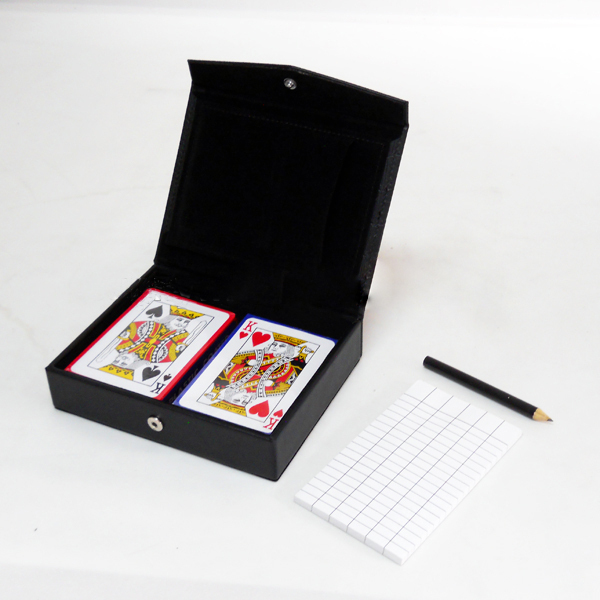 Due ponti in pelle box poker carte da gioco con custodia