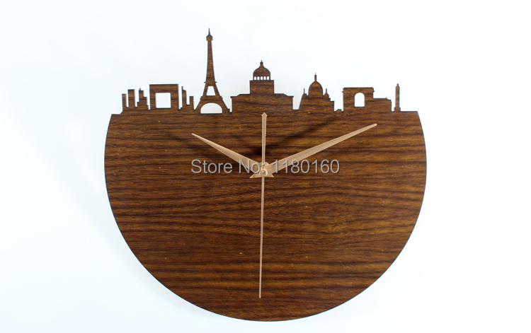 Eternal France,romantic Paris,Eiffel Tower,Paris building 3D hollow wooden wall clock,muted vintage European-style home decor