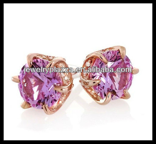 Fashion 925 sterling silver jewelry,Rose Dold Plated Pink Sapphire Stud Earrings