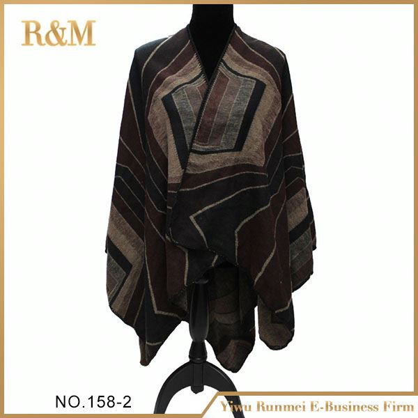 Latest hot selling!! trendy style winter blanket poncho shawl in many style