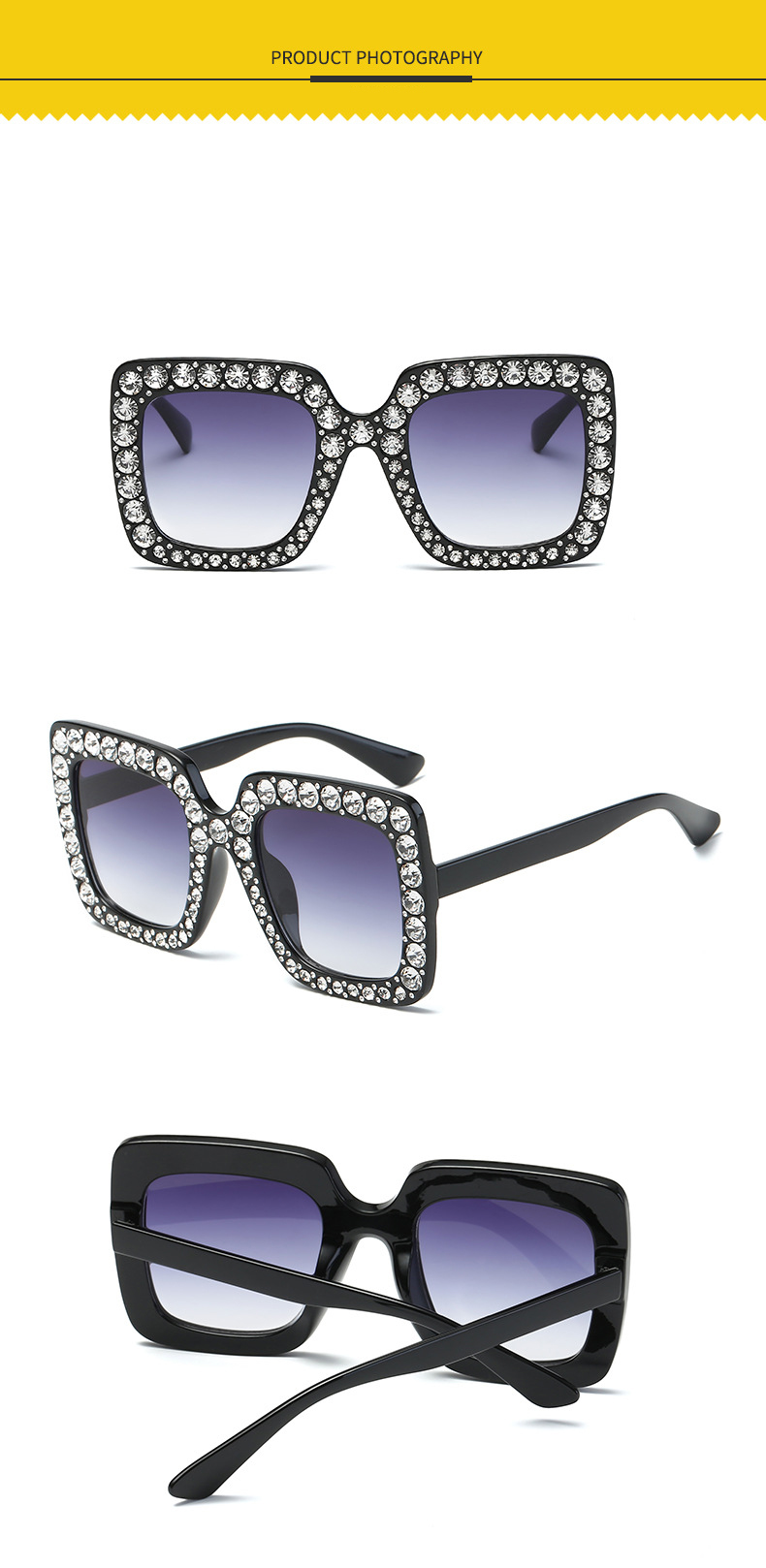 Fashion Women Rhinestone Luxury Fancy Sun Glasses 2019 Square Diamond Studded Sunglasses