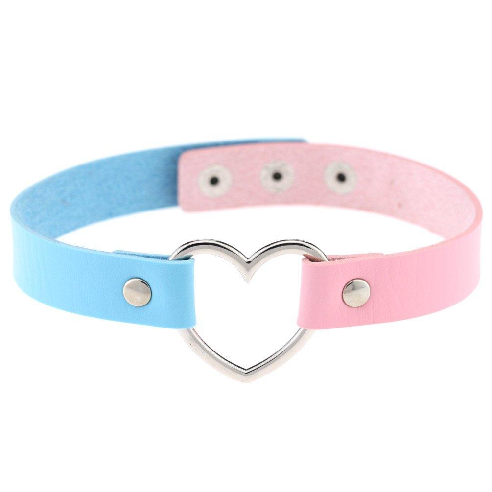 AKOAK New Fashion Girls Love Heart Choker Double Color PU Leather Collar Punk Collar Choker Necklace Heart Goth Fans Choker Necklace
