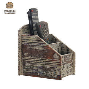 3 Slot Rustic Torched Wood Remote Control Caddy / Media Organizer, Office Supply Storage Rack,,bedstead
