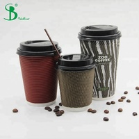 12oz Black Ripple Paper Cup Ripple Soup Cup Ripple Coffee Cup With Lids
