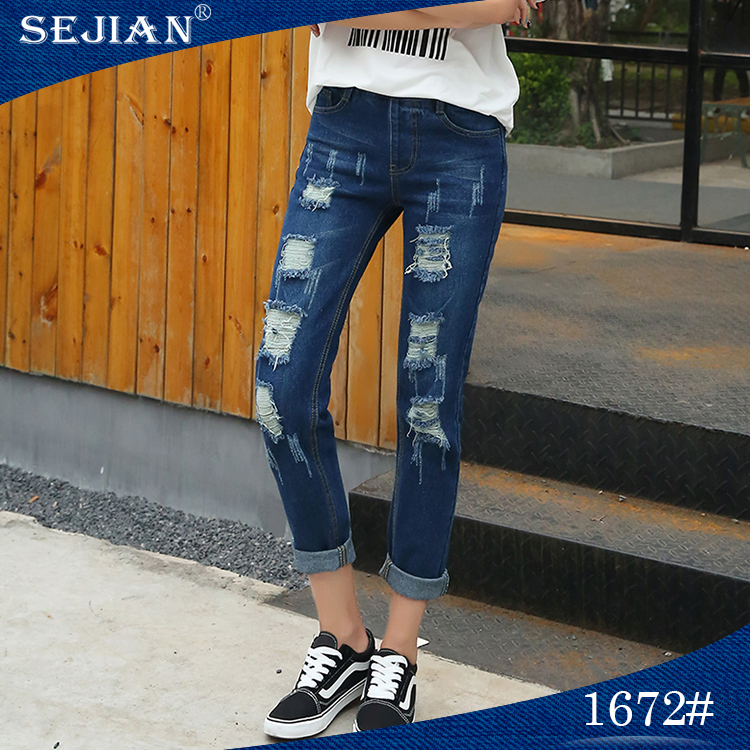 Fashion Design Leisure Inelastic Ripped Women Jeans