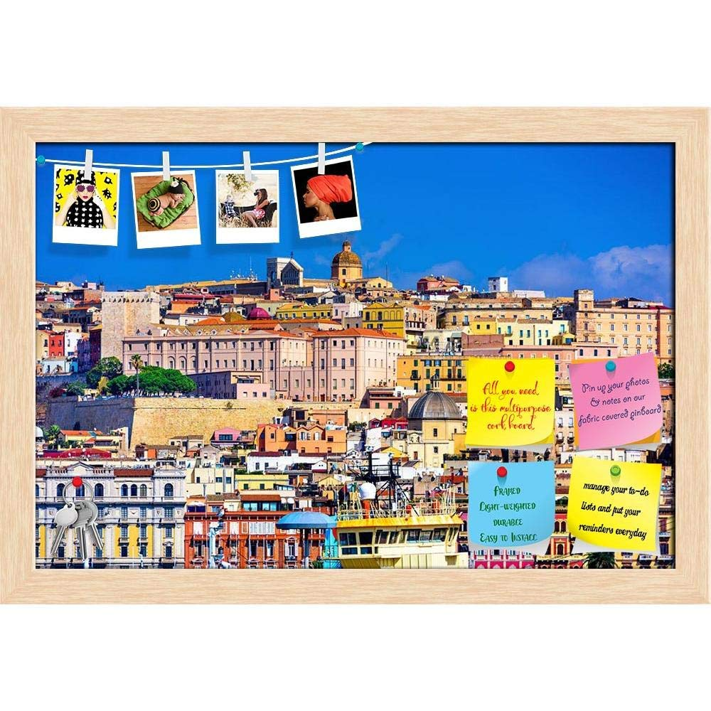 ArtzFolio Cagliari, Sardinia, Italy Old Town Skyline Printed Bulletin Board Notice Pin Board Cum Natural Brown Framed Painting 17.5 x 12inch