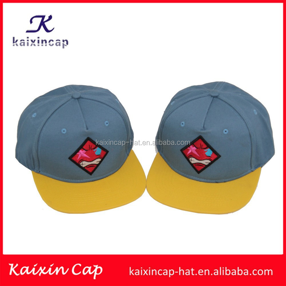 custom made yellow flat brim embroidery patch 6 panel snapback caps