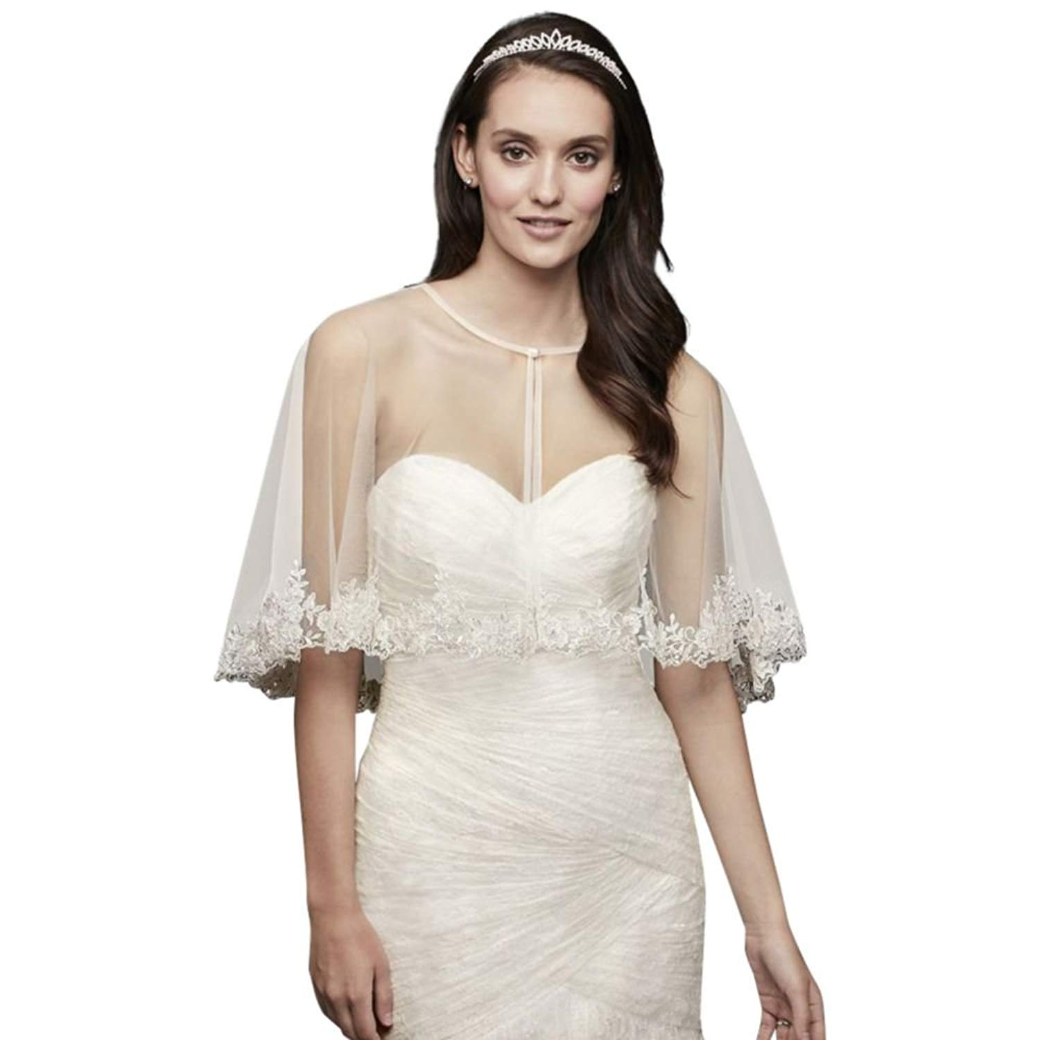 0a8f64fc67 Get Quotations · David s Bridal Tulle Cape Beaded Lace Applique Trim Style  OW2116