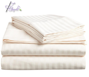 300TC white stripe hotel living bedding sheets for 4-star luxury hotels
