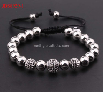 8mm Stainless Steel Beads Black Diamond Ball Macrame Bracelet