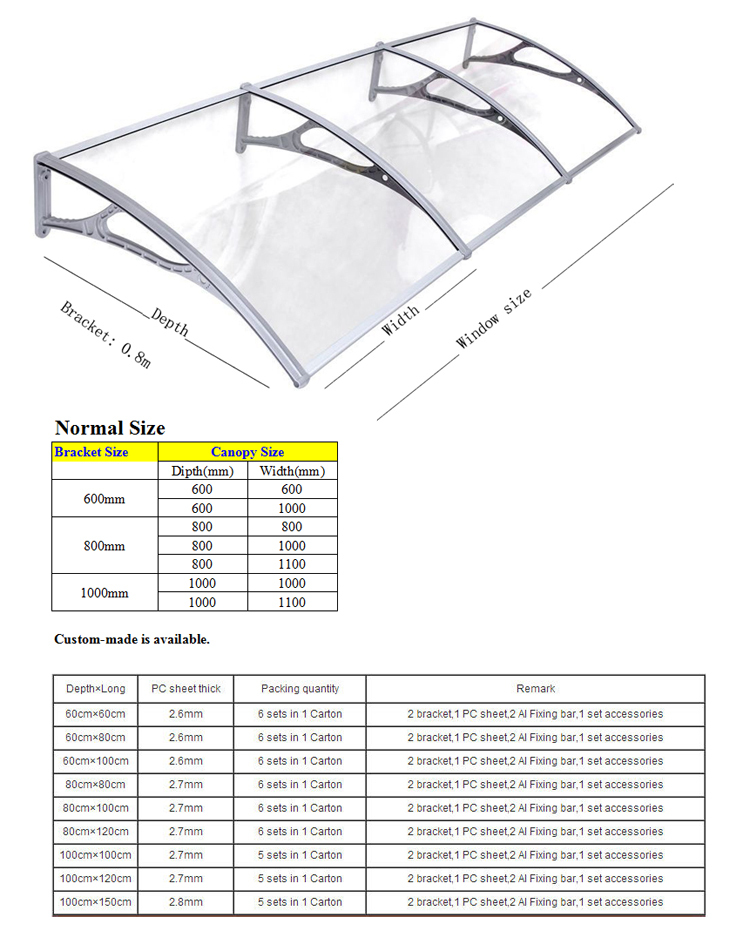 Brico depot supplier diy awning door canopy polycarbonate sheet plastic bracket canopy vx 4 - Polycarbonate brico depot ...