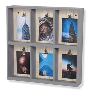 Wall Mountable Shadow Box Photo Collage Wooden Display Shelf 6 Compartments Gray wood collage picture frame