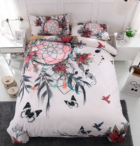 TINGYU 9 Colors Selectable 4 Pieces King/Queen/Twin Size Microfiber National Flavour Printing 3D Bedding Set
