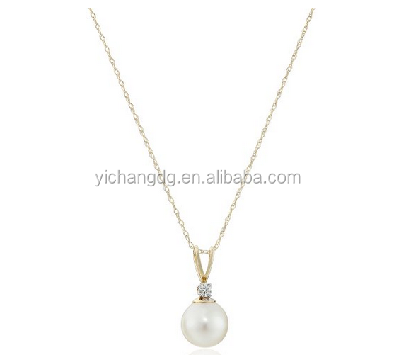 Italy Cheap10k Yellow Gold 8mm Cultured Pearl with Diamond Accent Pendant Necklace