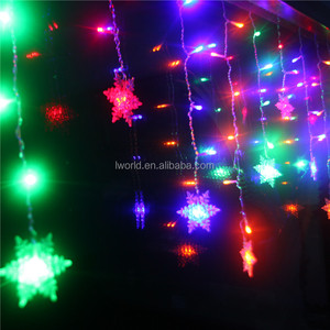 Snowflake decorative light string curtain christmas lighting 110V 220V battery power snowflake light for home holiday party