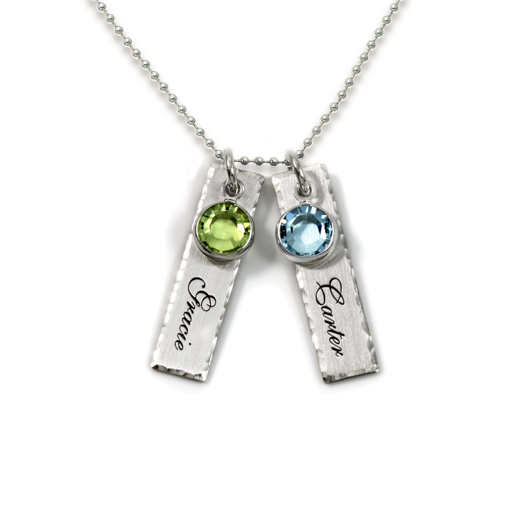 be94a9444 Get Quotations · Unity in Two Personalized Charm Necklace. Customize 2  Sterling Silver Rectangular Pendants with Names of